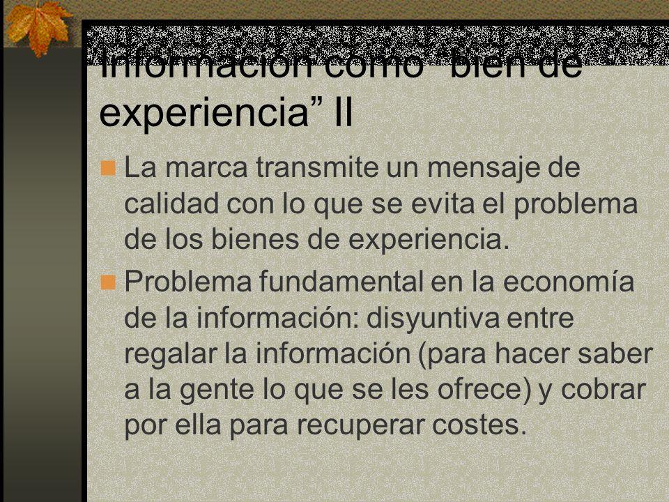 Información como bien de experiencia II La marca transmite un mensaje de calidad con lo que se evita el problema de los bienes de experiencia.
