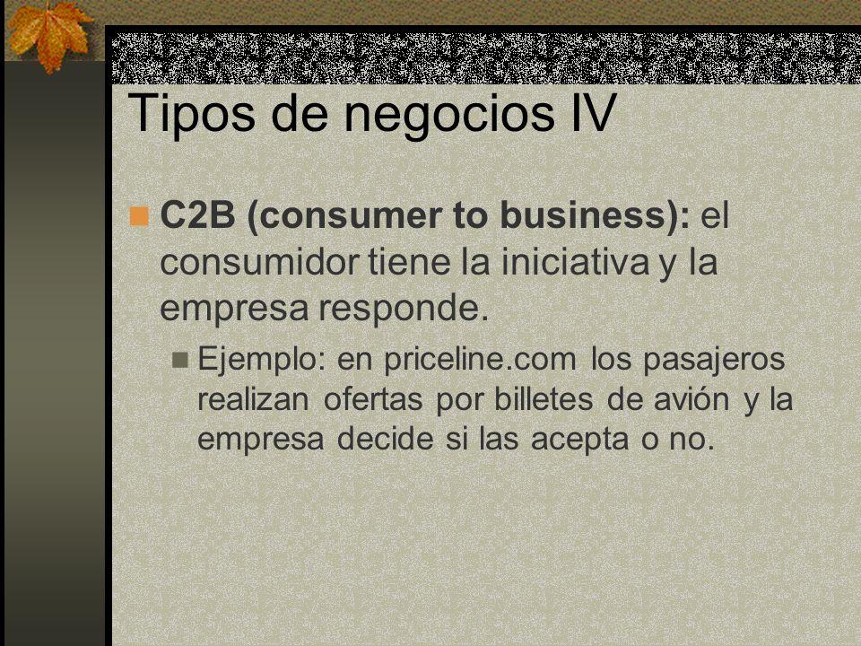 Tipos de negocios IV C2B (consumer to business): el consumidor tiene la iniciativa y la empresa responde.