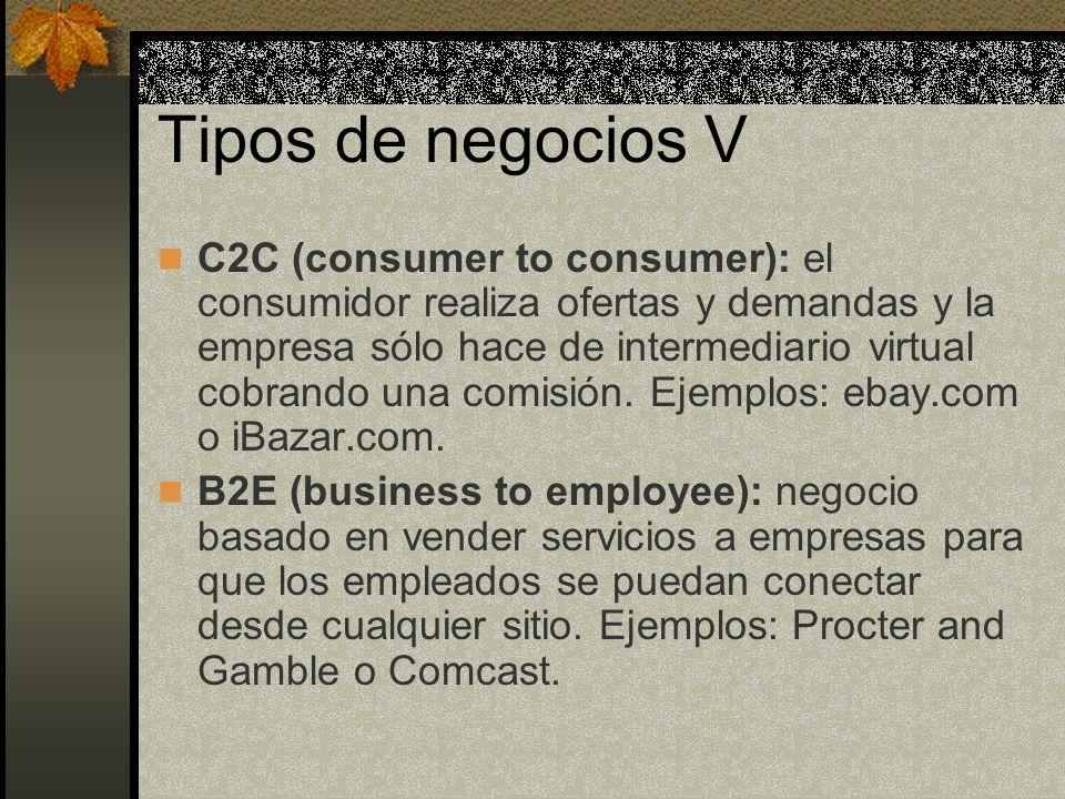 Tipos de negocios V C2C (consumer to consumer): el consumidor realiza ofertas y demandas y la empresa sólo hace de intermediario virtual cobrando una comisión.