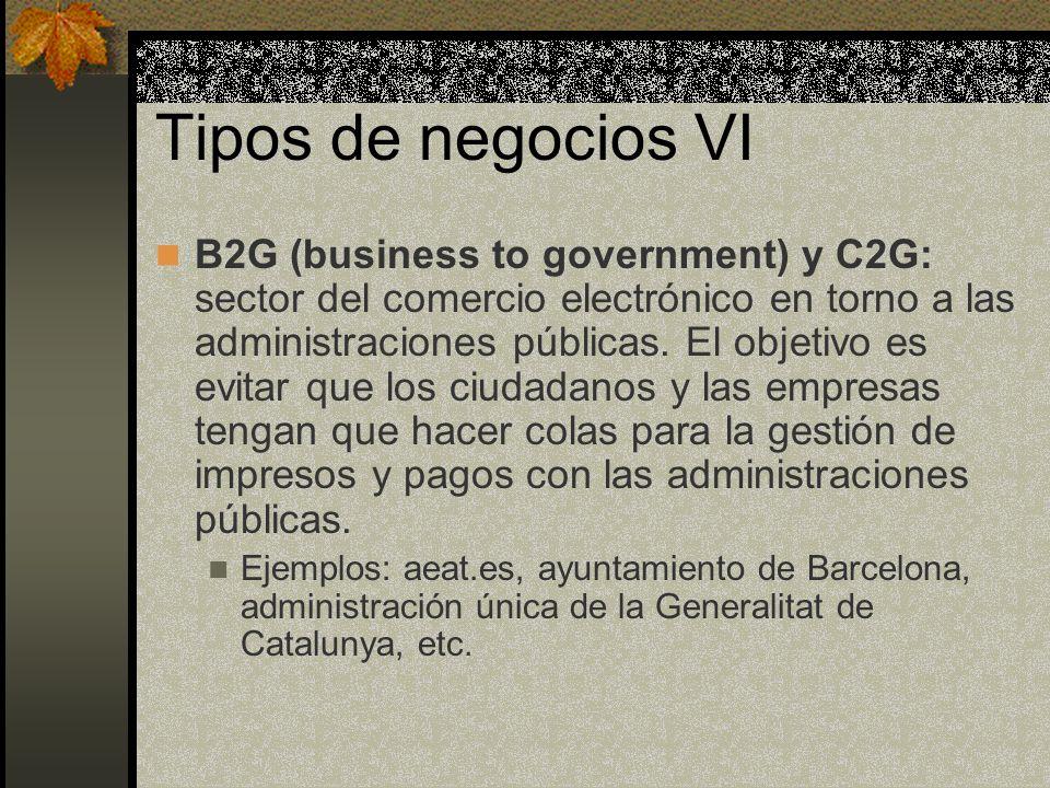 Tipos de negocios VI B2G (business to government) y C2G: sector del comercio electrónico en torno a las administraciones públicas.