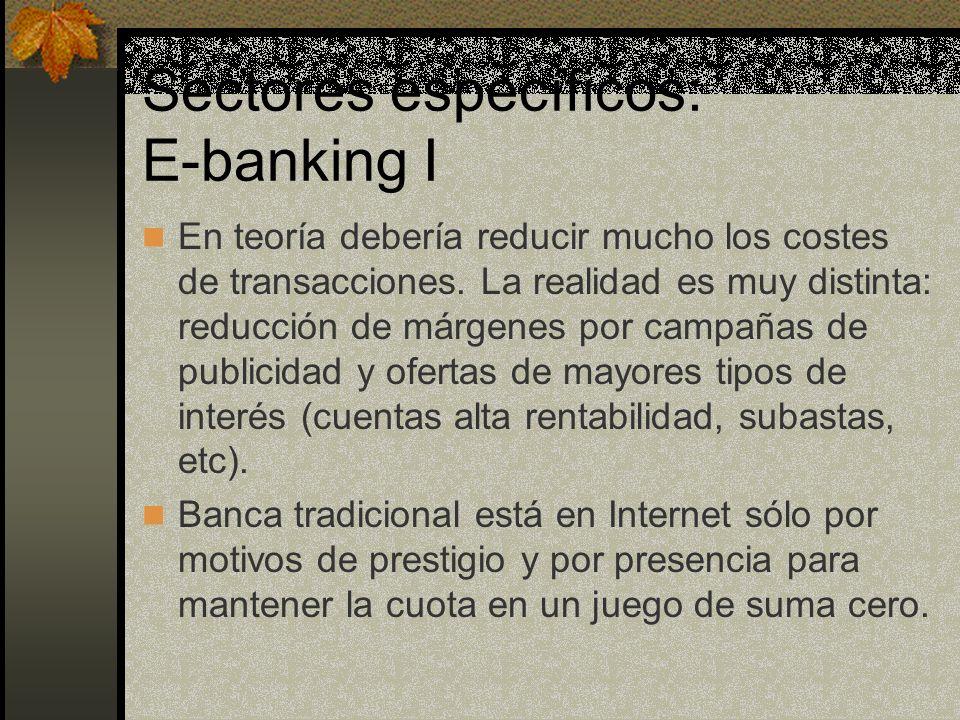Sectores específicos: E-banking I En teoría debería reducir mucho los costes de transacciones.