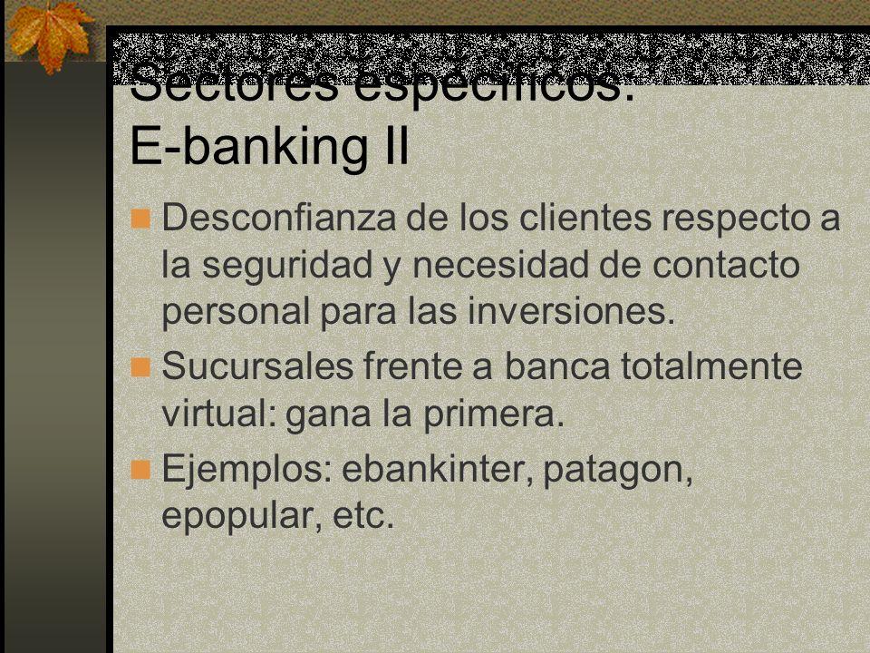 Sectores específicos: E-banking II Desconfianza de los clientes respecto a la seguridad y necesidad de contacto personal para las inversiones.