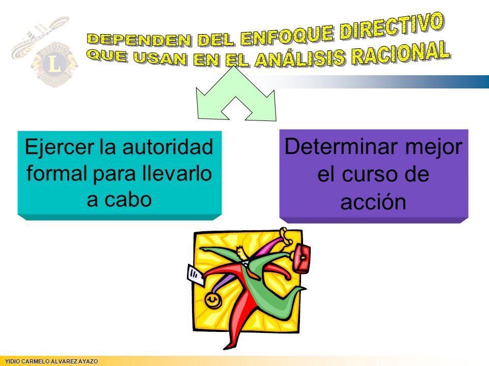 YIDIO CARMELO ALVAREZ AYAZO JEFE DE REGION Nº 5 Ejercer la autoridad formal para llevarlo a cabo Determinar mejor el curso de acción