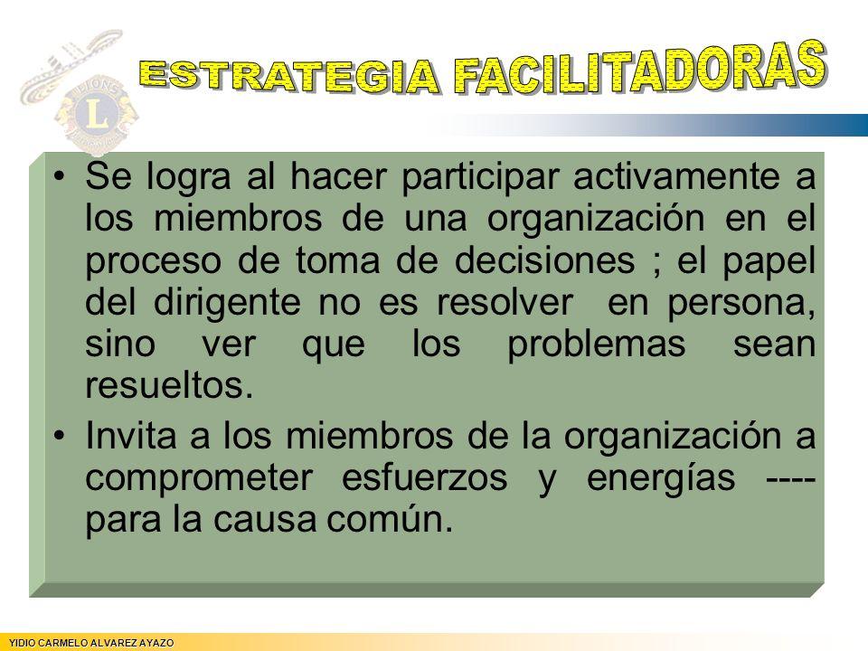 Se logra al hacer participar activamente a los miembros de una organización en el proceso de toma de decisiones ; el papel del dirigente no es resolve