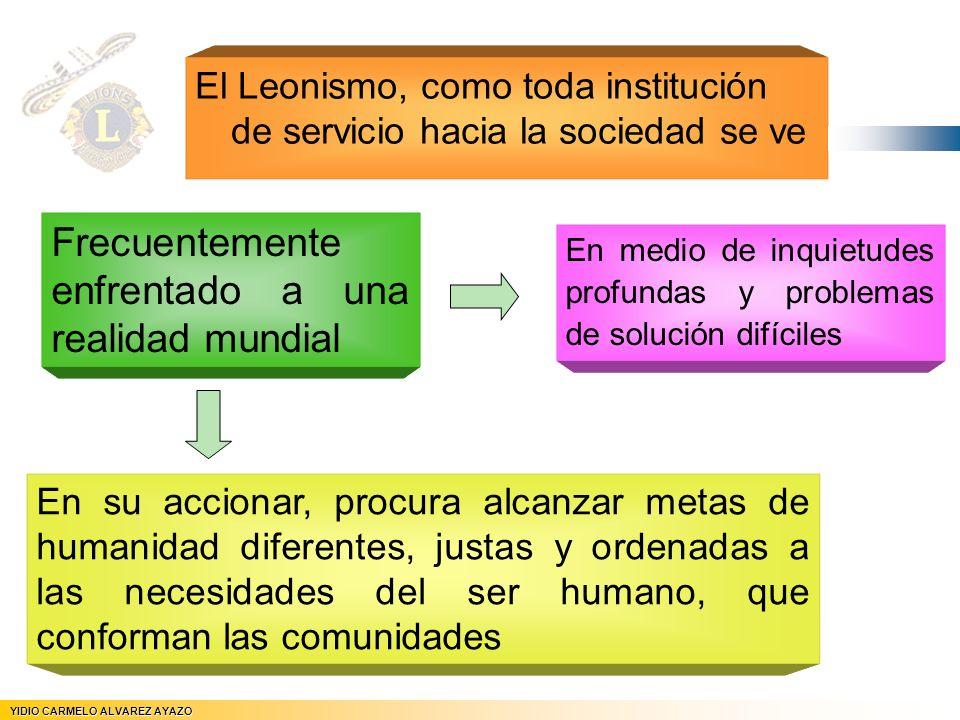 El Leonismo, como toda institución de servicio hacia la sociedad se ve YIDIO CARMELO ALVAREZ AYAZO JEFE DE REGION Nº 5 En su accionar, procura alcanza