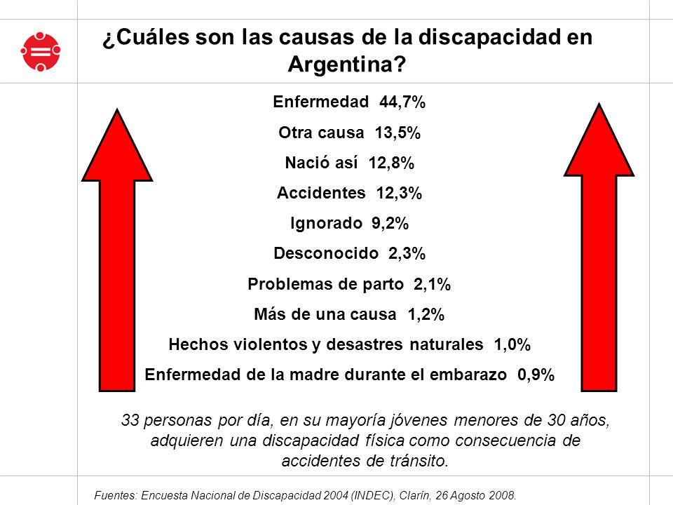 Fuentes: Encuesta Nacional de Discapacidad 2004 (INDEC), Clarín, 26 Agosto 2008. Enfermedad 44,7% Otra causa 13,5% Nació así 12,8% Accidentes 12,3% Ig
