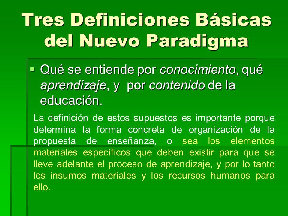 Tres Definiciones Básicas del Nuevo Paradigma Qué se entiende por conocimiento, qué aprendizaje, y por contenido de la educación. Qué se entiende por