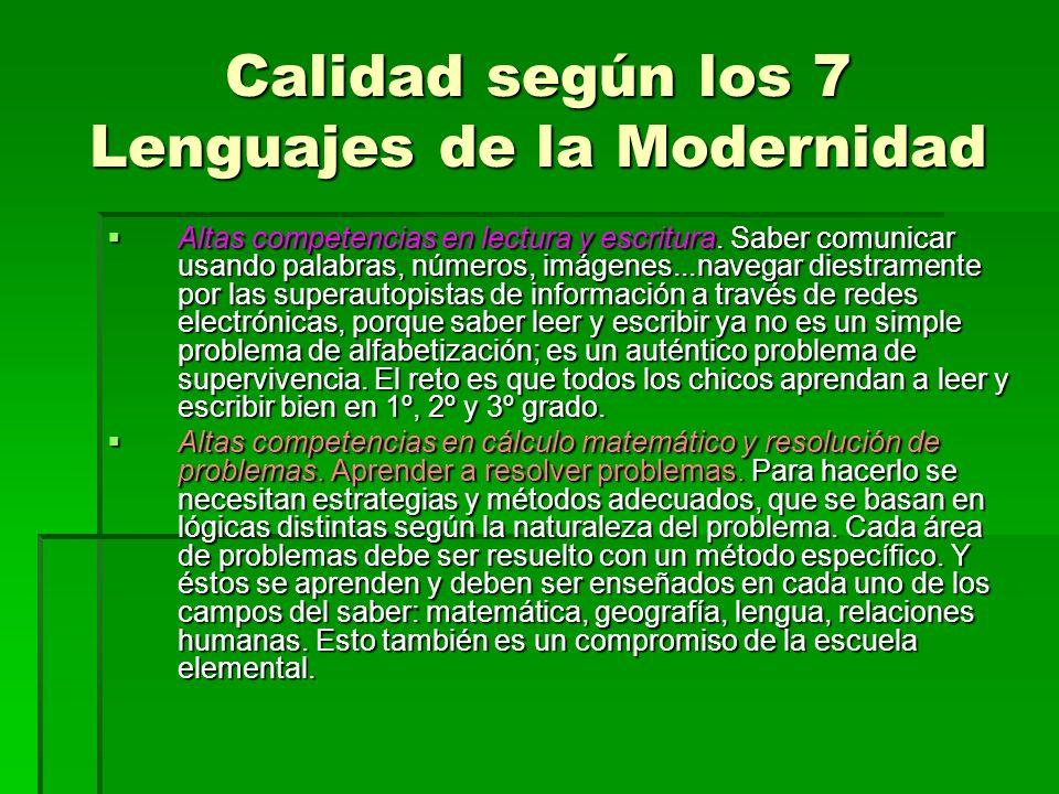 Calidad según los 7 Lenguajes de la Modernidad Altas competencias en lectura y escritura. Saber comunicar usando palabras, números, imágenes...navegar