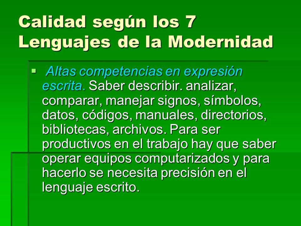 Calidad según los 7 Lenguajes de la Modernidad Altas competencias en expresión escrita. Saber describir. analizar, comparar, manejar signos, símbolos,