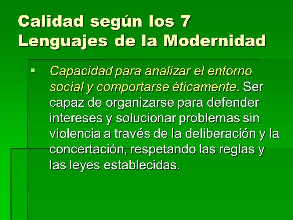 Calidad según los 7 Lenguajes de la Modernidad Capacidad para analizar el entorno social y comportarse éticamente.