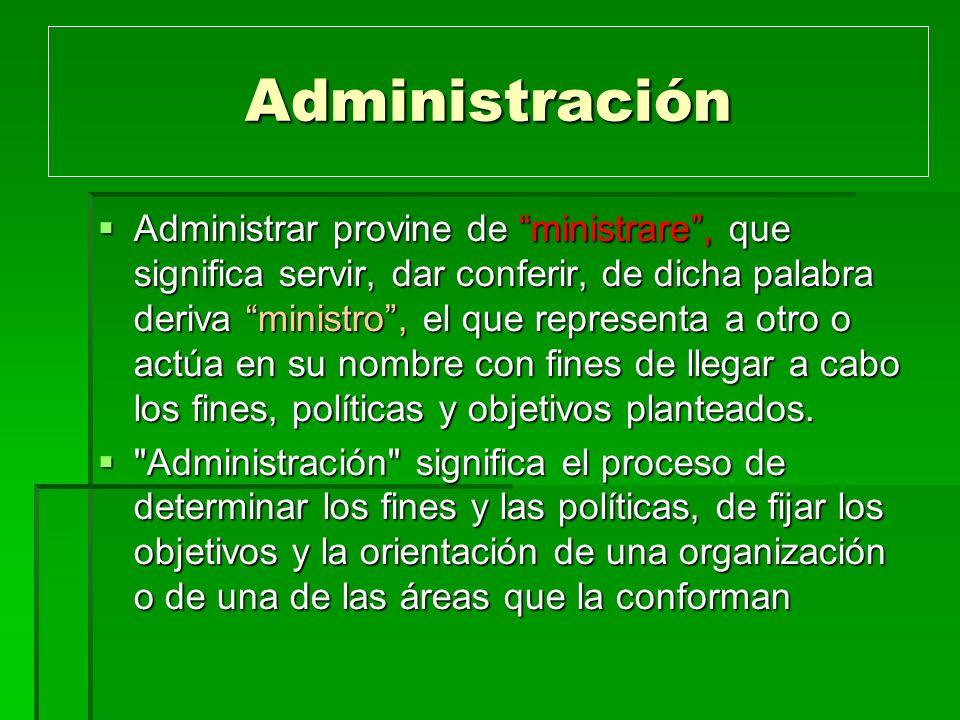 Administración Administrar provine de ministrare, que significa servir, dar conferir, de dicha palabra deriva ministro, el que representa a otro o act