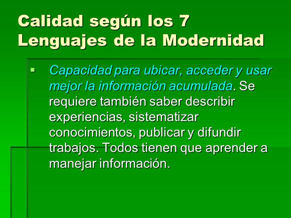 Calidad según los 7 Lenguajes de la Modernidad Capacidad para ubicar, acceder y usar mejor la información acumulada. Se requiere también saber describ