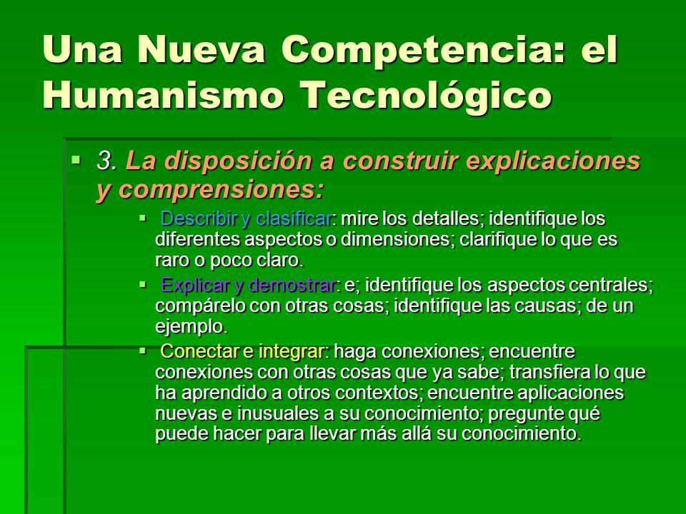 Una Nueva Competencia: el Humanismo Tecnológico 3. La disposición a construir explicaciones y comprensiones: 3. La disposición a construir explicacion