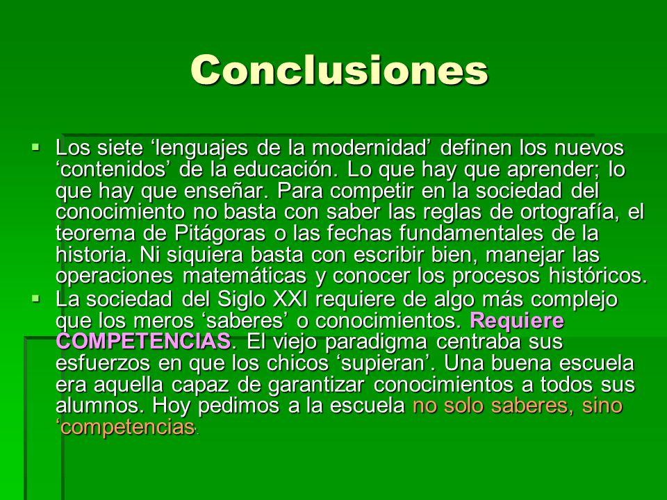 Conclusiones Los siete lenguajes de la modernidad definen los nuevos contenidos de la educación.