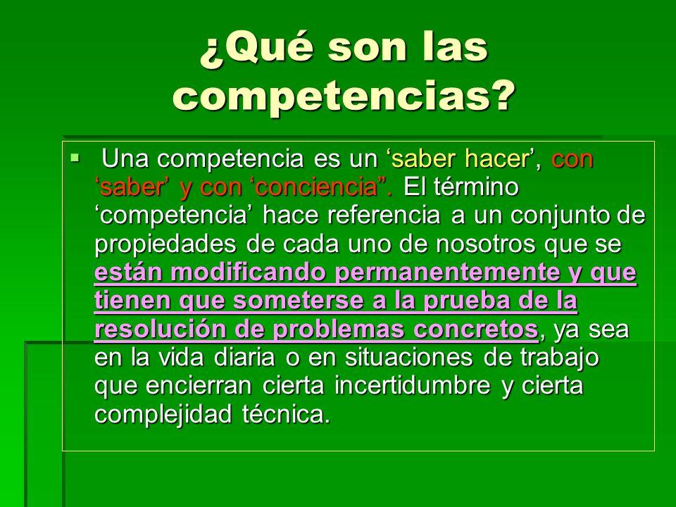 ¿Qué son las competencias? Una competencia es un saber hacer, con saber y con conciencia. El término competencia hace referencia a un conjunto de prop