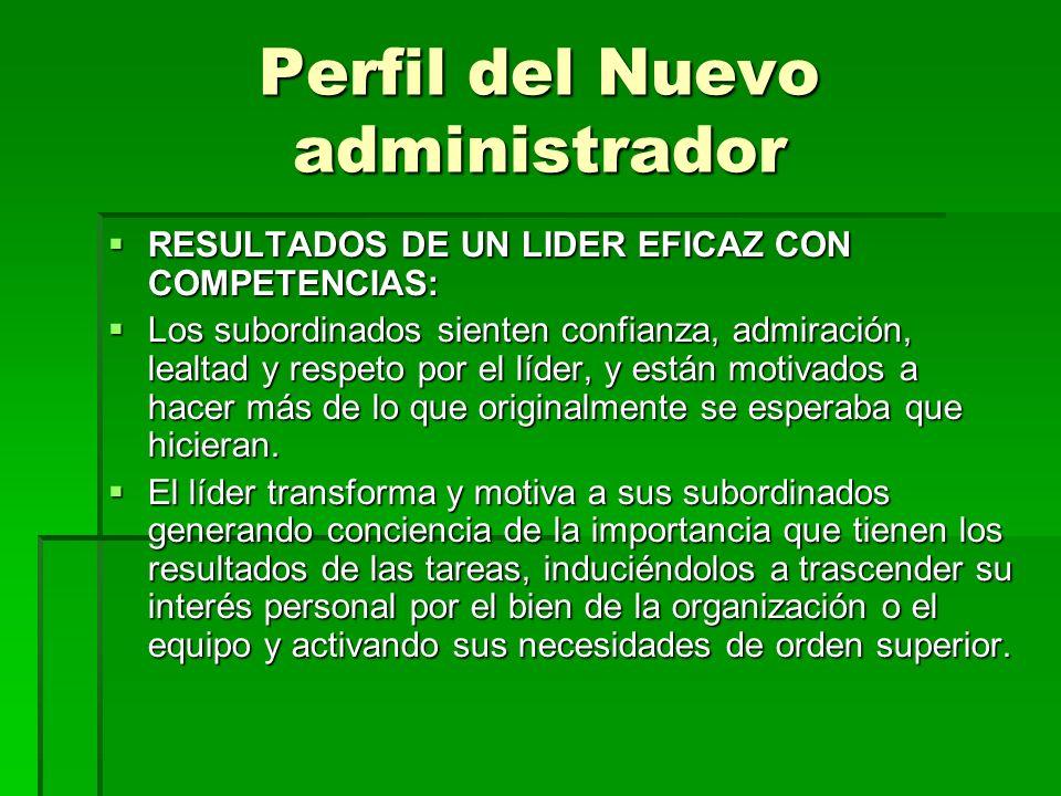 Perfil del Nuevo administrador RESULTADOS DE UN LIDER EFICAZ CON COMPETENCIAS: RESULTADOS DE UN LIDER EFICAZ CON COMPETENCIAS: Los subordinados siente