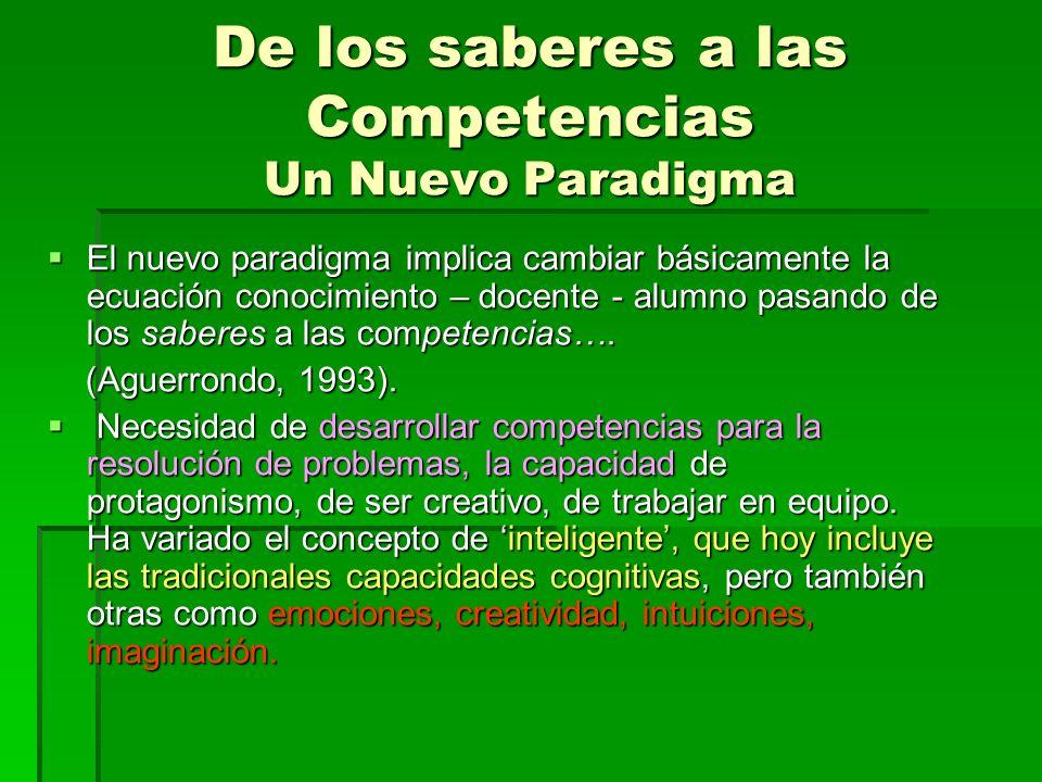 De los saberes a las Competencias Un Nuevo Paradigma El nuevo paradigma implica cambiar básicamente la ecuación conocimiento – docente - alumno pasando de los saberes a las competencias….