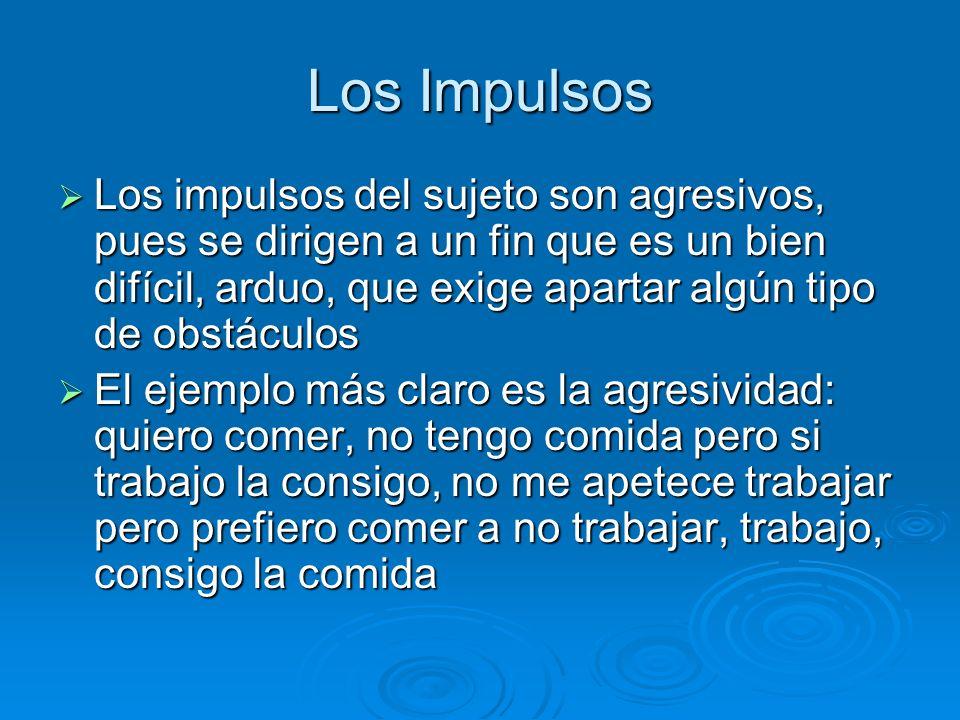 Los Impulsos Los impulsos del sujeto son agresivos, pues se dirigen a un fin que es un bien difícil, arduo, que exige apartar algún tipo de obstáculos