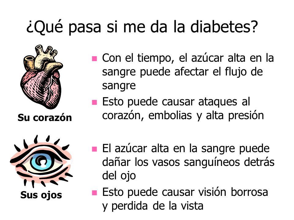 ¿Qué pasa si me da la diabetes? Su corazón Sus ojos Con el tiempo, el azúcar alta en la sangre puede afectar el flujo de sangre Esto puede causar ataq