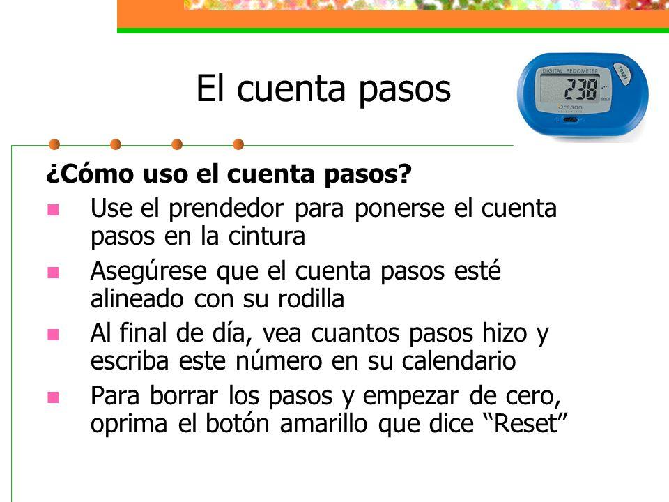 El cuenta pasos ¿Cómo uso el cuenta pasos? Use el prendedor para ponerse el cuenta pasos en la cintura Asegúrese que el cuenta pasos esté alineado con