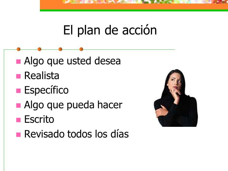El plan de acción Algo que usted desea Realista Específico Algo que pueda hacer Escrito Revisado todos los días