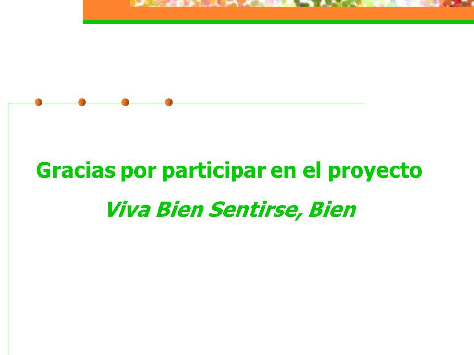 Gracias por participar en el proyecto Viva Bien Sentirse, Bien