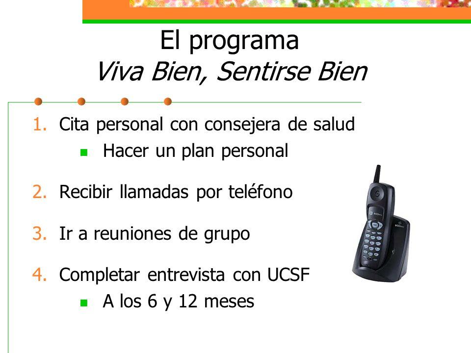 El programa Viva Bien, Sentirse Bien 1. Cita personal con consejera de salud Hacer un plan personal 2. Recibir llamadas por teléfono 3. Ir a reuniones