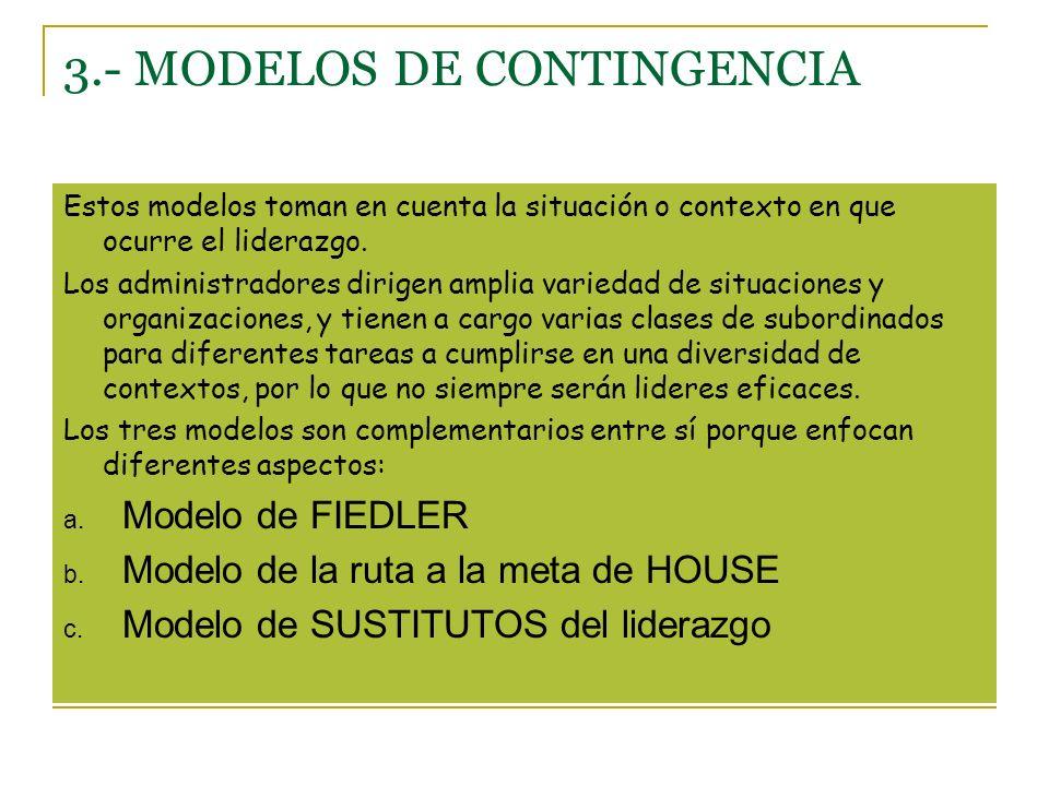 3.- MODELOS DE CONTINGENCIA Estos modelos toman en cuenta la situación o contexto en que ocurre el liderazgo.