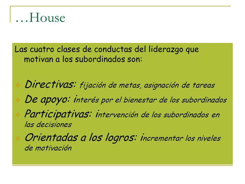 …House Las cuatro clases de conductas del liderazgo que motivan a los subordinados son: Directivas: fijación de metas, asignación de tareas De apoyo: i nterés por el bienestar de los subordinados Participativas: i ntervención de los subordinados en las decisiones Orientadas a los logros: i ncrementar los niveles de motivación
