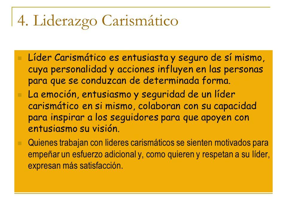 4. Liderazgo Carismático Líder Carismático es entusiasta y seguro de sí mismo, cuya personalidad y acciones influyen en las personas para que se condu