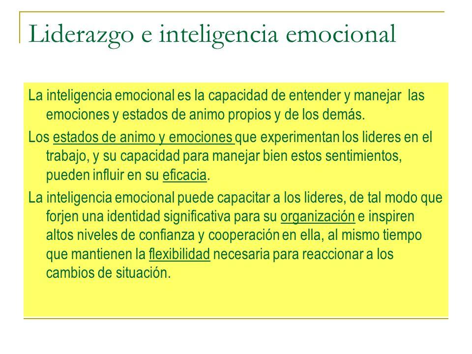 Liderazgo e inteligencia emocional La inteligencia emocional es la capacidad de entender y manejar las emociones y estados de animo propios y de los demás.