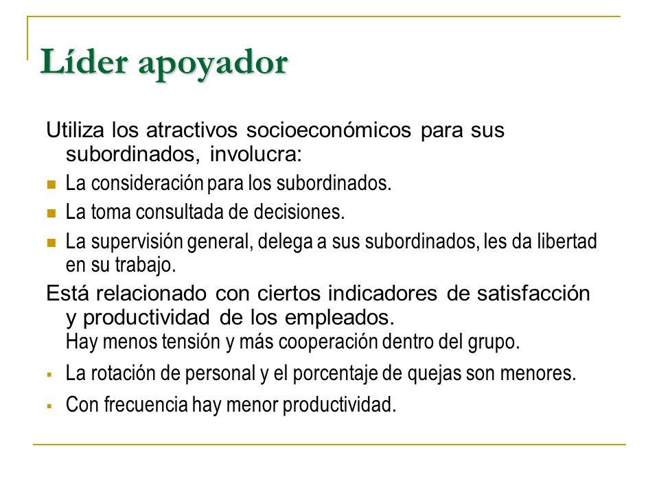 Líder apoyador Utiliza los atractivos socioeconómicos para sus subordinados, involucra: La consideración para los subordinados.