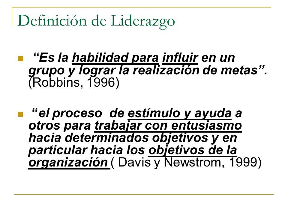 Definición de Liderazgo Es la habilidad para influir en un grupo y lograr la realización de metas.