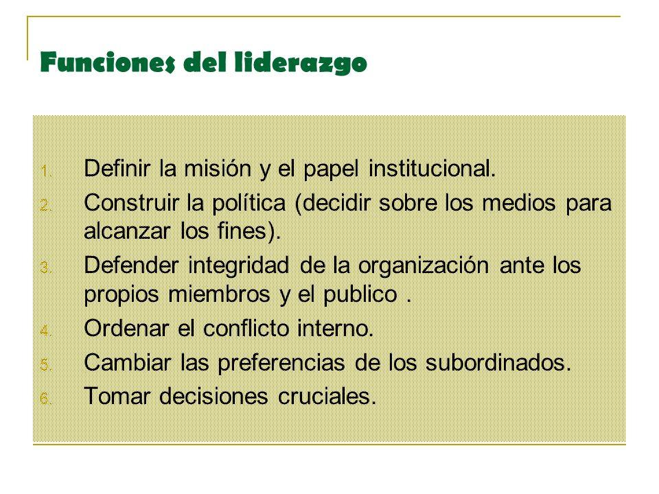 Funciones del liderazgo 1.Definir la misión y el papel institucional.