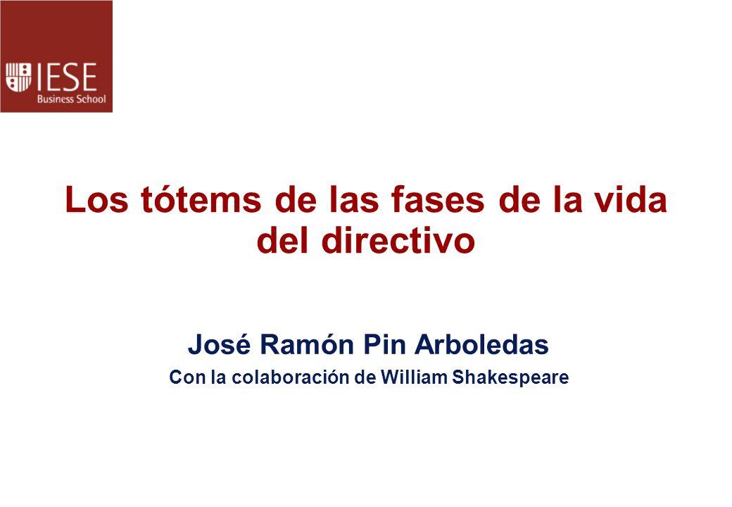 Los tótems de las fases de la vida del directivo José Ramón Pin Arboledas Con la colaboración de William Shakespeare