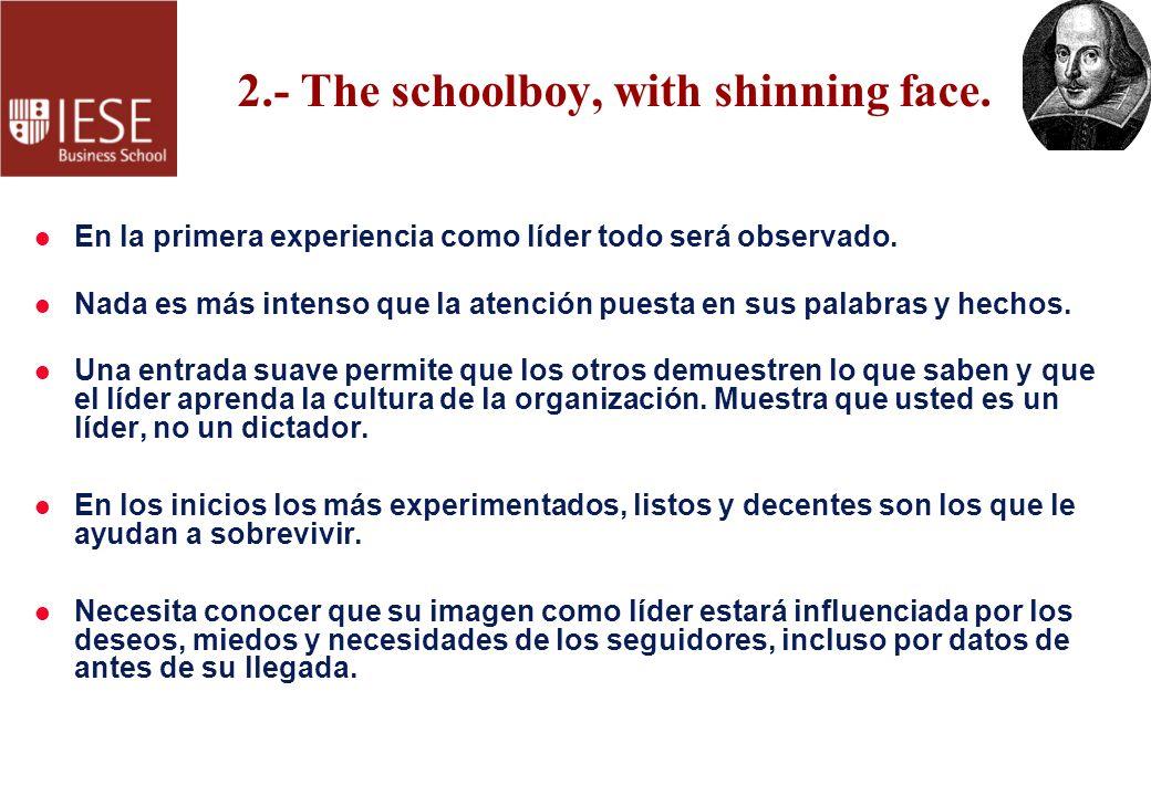 2.- The schoolboy, with shinning face. l En la primera experiencia como líder todo será observado. l Nada es más intenso que la atención puesta en sus