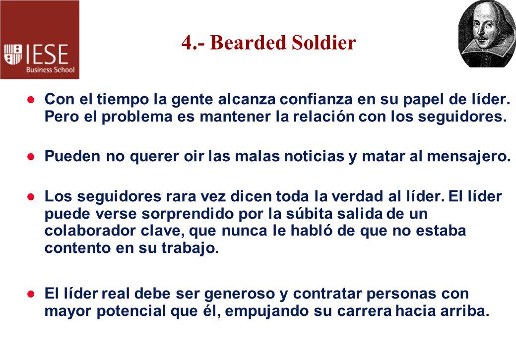 4.- Bearded Soldier l Con el tiempo la gente alcanza confianza en su papel de líder. Pero el problema es mantener la relación con los seguidores. l Pu