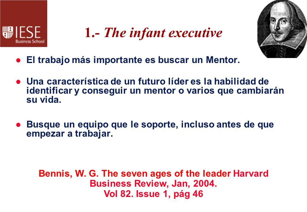 1.- The infant executive l El trabajo más importante es buscar un Mentor. l Una característica de un futuro líder es la habilidad de identificar y con