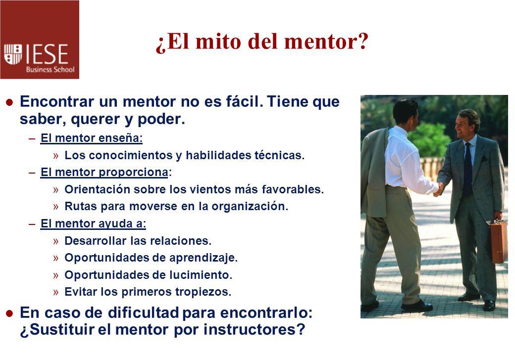 ¿El mito del mentor? l Encontrar un mentor no es fácil. Tiene que saber, querer y poder. –El mentor enseña: »Los conocimientos y habilidades técnicas.