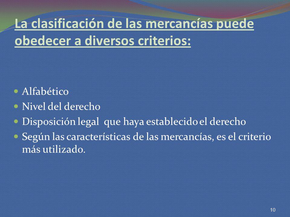 La clasificación de las mercancías puede obedecer a diversos criterios: Alfabético Nivel del derecho Disposición legal que haya establecido el derecho