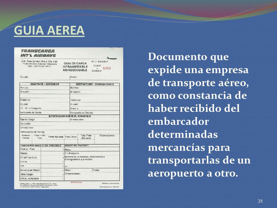 GUIA AEREA Documento que expide una empresa de transporte aéreo, como constancia de haber recibido del embarcador determinadas mercancías para transpo