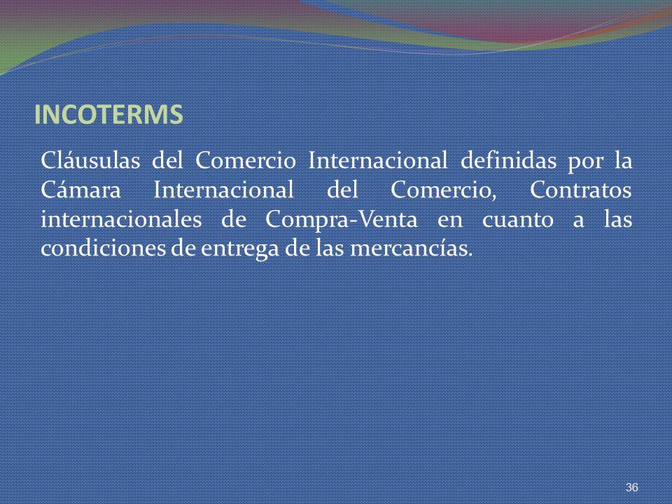 INCOTERMS Cláusulas del Comercio Internacional definidas por la Cámara Internacional del Comercio, Contratos internacionales de Compra-Venta en cuanto