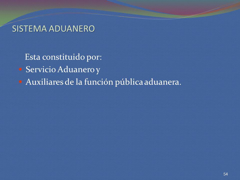 SISTEMA ADUANERO Esta constituido por: Servicio Aduanero y Auxiliares de la función pública aduanera. 54