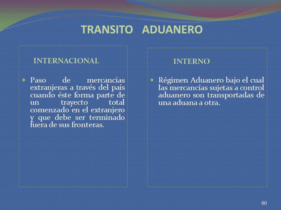 TRANSITO ADUANERO INTERNACIONAL Paso de mercancías extranjeras a través del país cuando éste forma parte de un trayecto total comenzado en el extranje