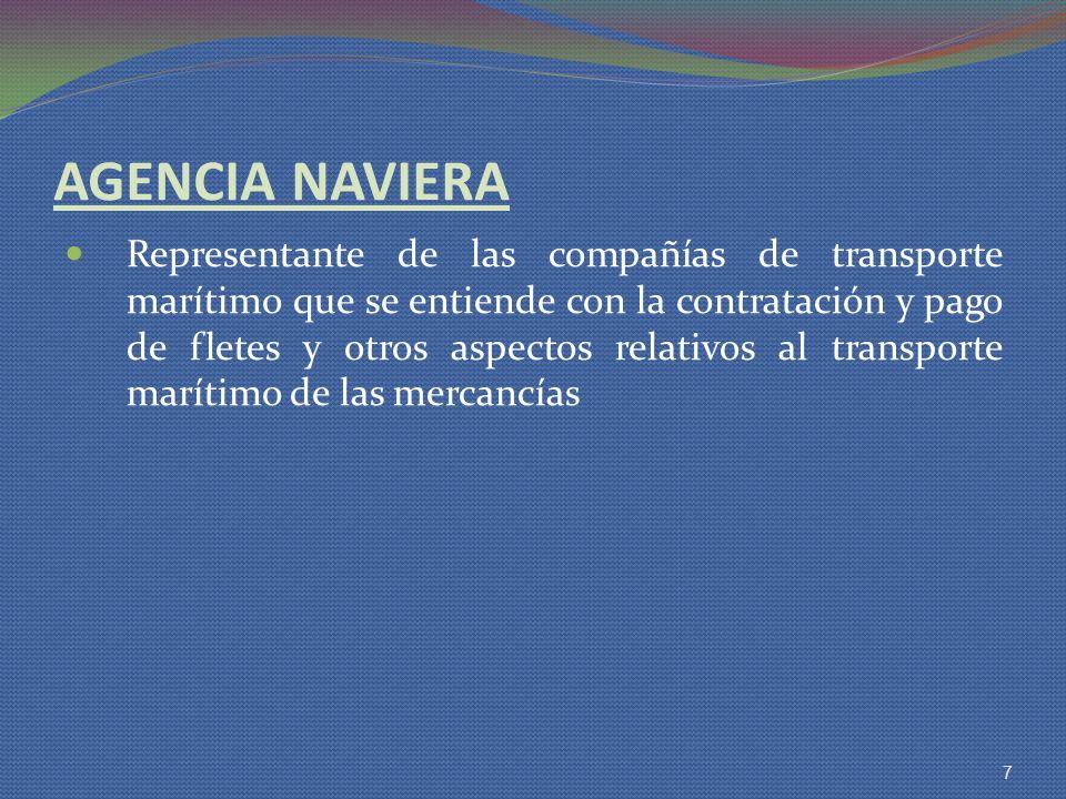 AGENCIA NAVIERA Representante de las compañías de transporte marítimo que se entiende con la contratación y pago de fletes y otros aspectos relativos