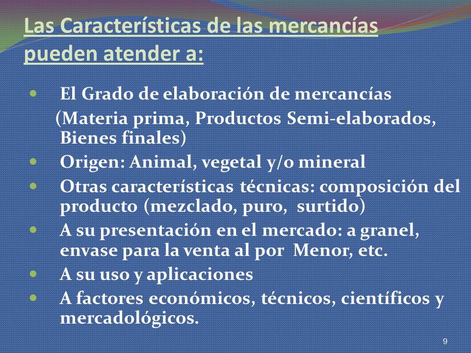 Las Características de las mercancías pueden atender a: El Grado de elaboración de mercancías (Materia prima, Productos Semi-elaborados, Bienes finale
