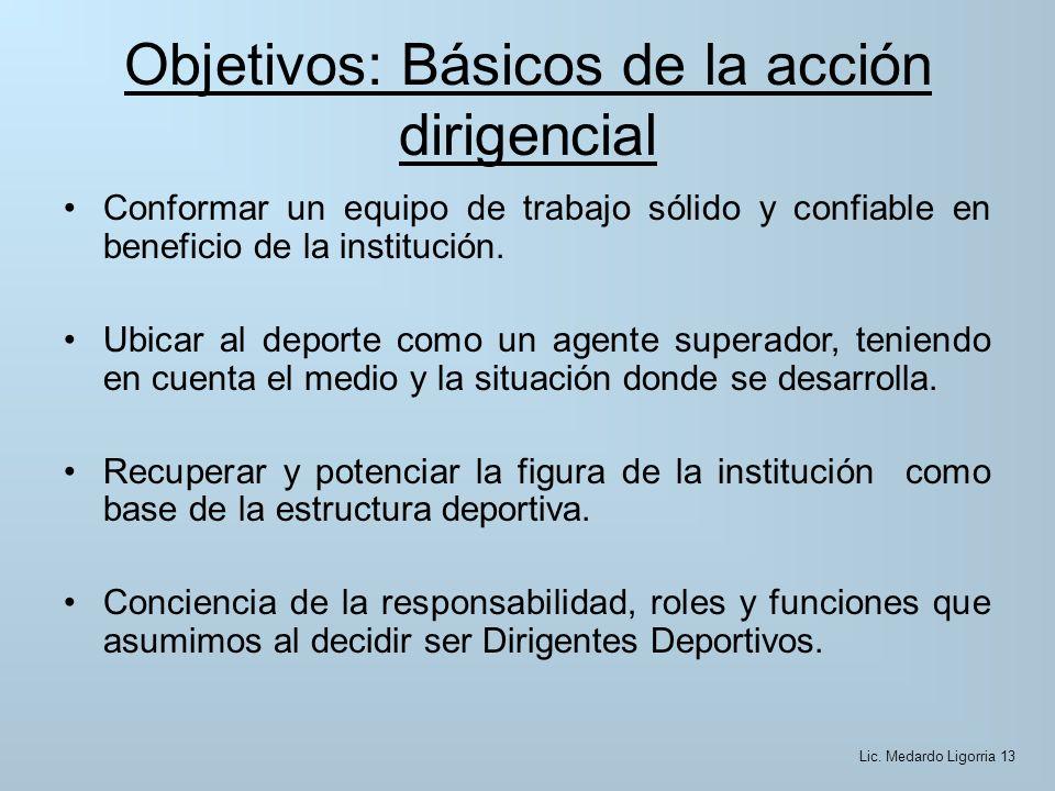 Objetivos: Básicos de la acción dirigencial Conformar un equipo de trabajo sólido y confiable en beneficio de la institución.