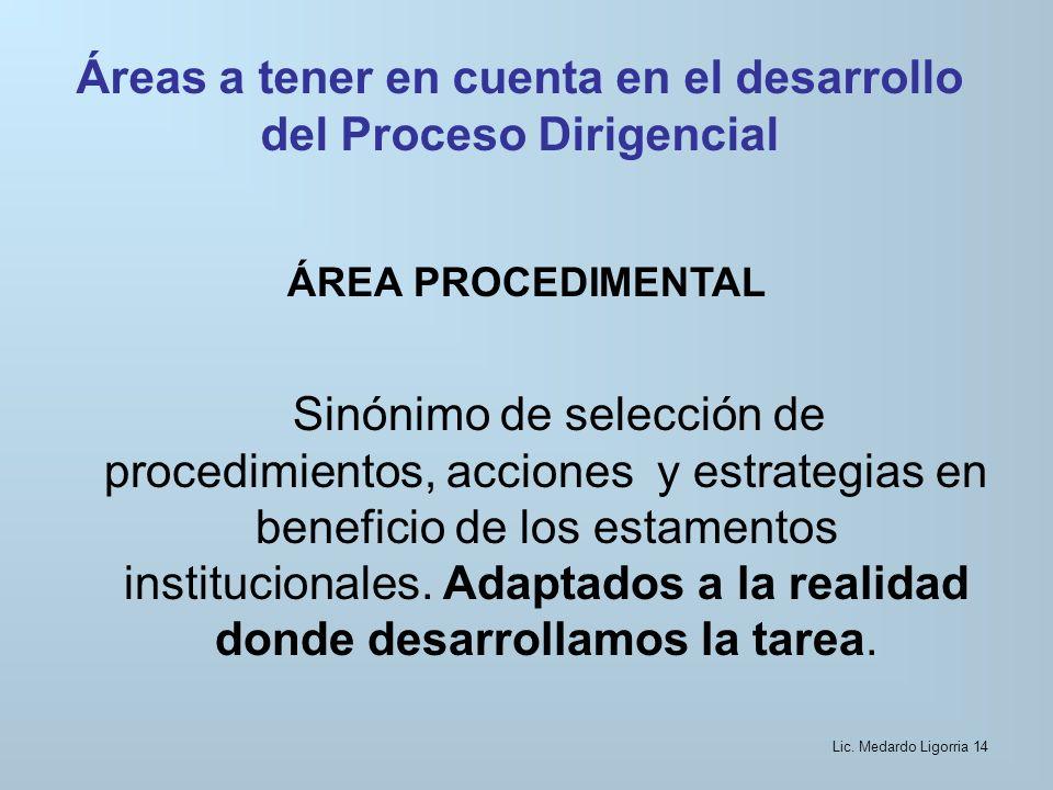 Áreas a tener en cuenta en el desarrollo del Proceso Dirigencial ÁREA PROCEDIMENTAL Sinónimo de selección de procedimientos, acciones y estrategias en beneficio de los estamentos institucionales.