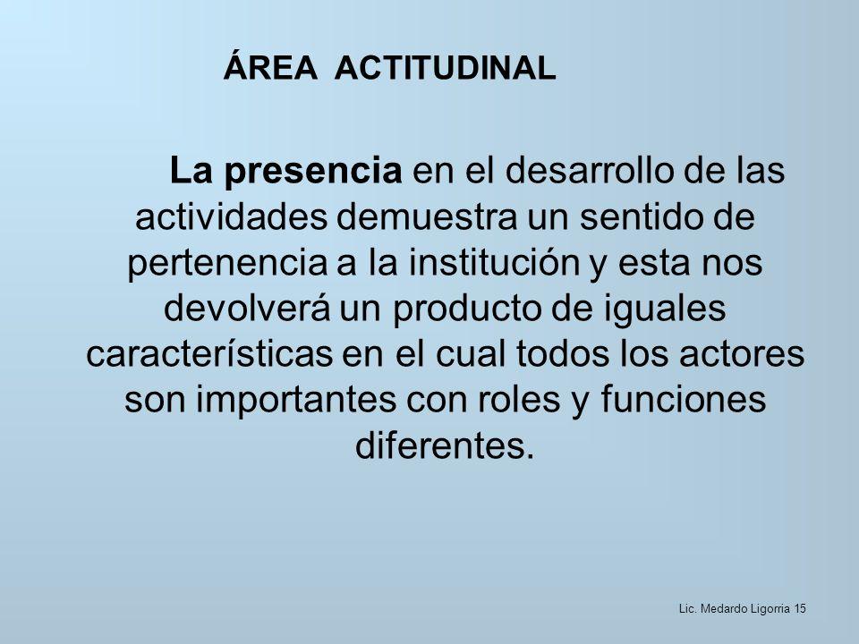 ÁREA ACTITUDINAL La presencia en el desarrollo de las actividades demuestra un sentido de pertenencia a la institución y esta nos devolverá un producto de iguales características en el cual todos los actores son importantes con roles y funciones diferentes.