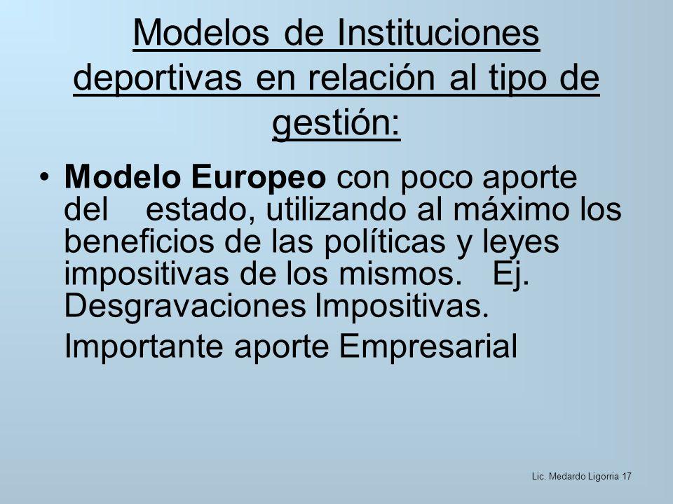 Modelos de Instituciones deportivas en relación al tipo de gestión: Modelo Europeo con poco aporte del estado, utilizando al máximo los beneficios de las políticas y leyes impositivas de los mismos.